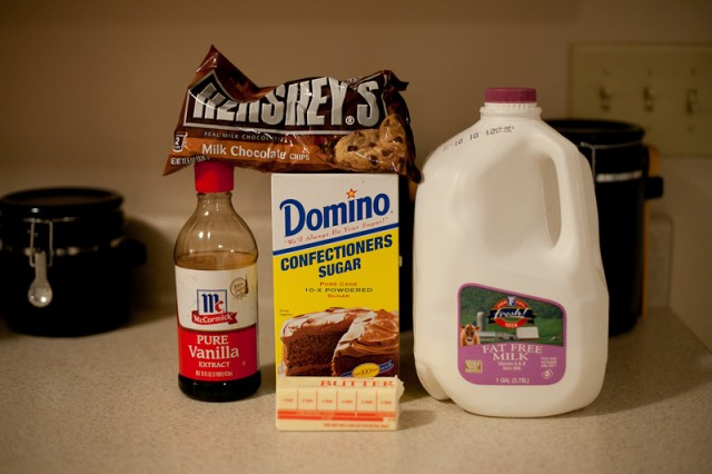 Ingredients for Rich Chocolate Cake with Milk Chocolate Icing Recipe