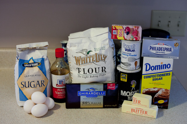 Ingredients for Red Velvet Brownies with Cream Cheese Frosting