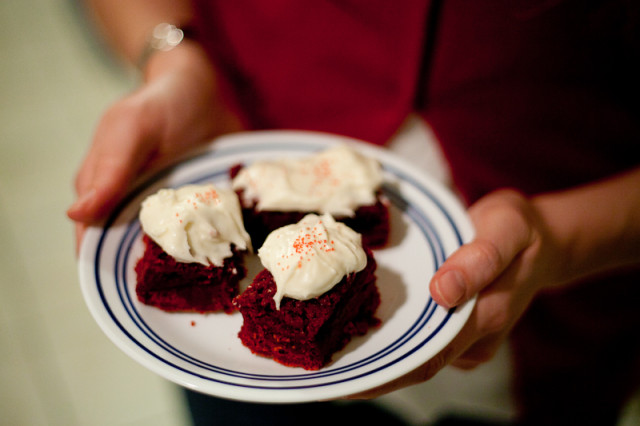 Red Velvet Brownies with Craem Cheese Frosting