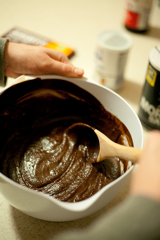 Then whisk in the cooled chocolate mixture.