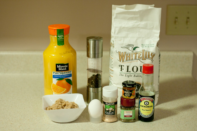 Ingredients for crunchy orange chicken recipe
