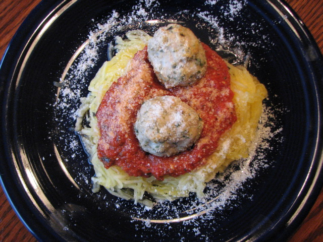 Spaghetti Squash Spaghetti with Turkey Meatballs