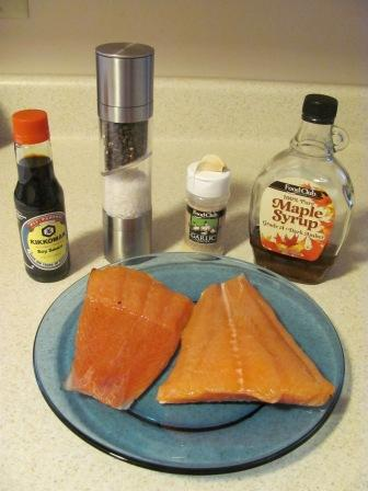 Ingredients for maple glazed baked salmon recipe