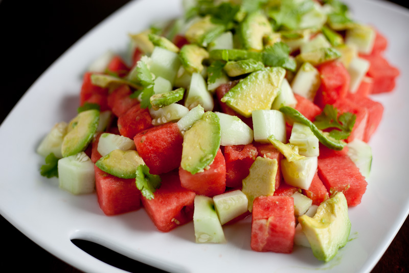 Watermelon, Avocado, and Cucumber Salad Recipe